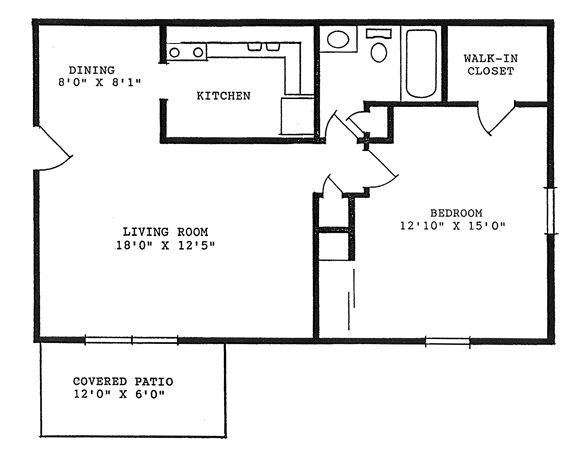 760 square feet, one bedroom