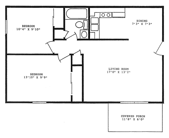 760 square feet, two bedrooms