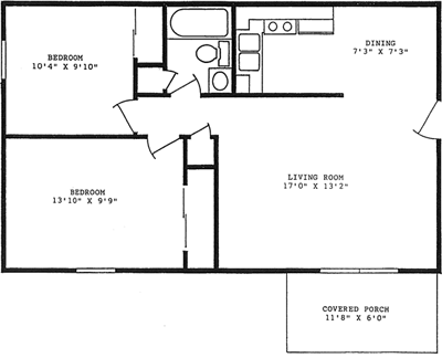 760 square feet, 2 bedrooms