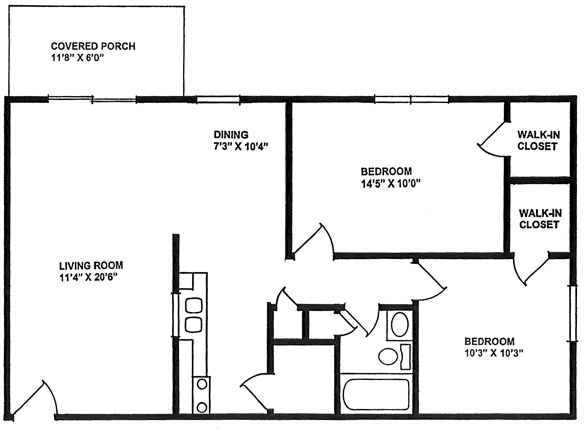 845 square feet, two bedrooms