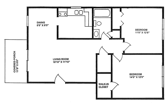940 square feet, two bedrooms
